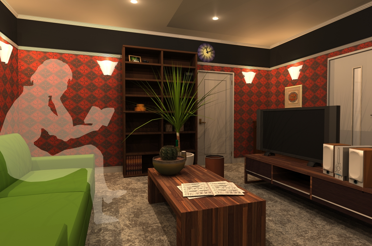 3D 赤い部屋